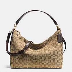 EAST/WEST CELESTE CONVERTIBLE HOBO IN OUTLINE SIGNATURE - f54936 - IMITATION GOLD/KHAKI/BROWN