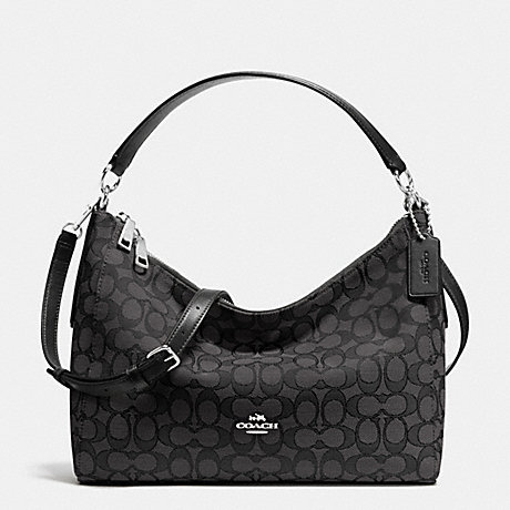 COACH f54936 EAST WEST CELESTE CONVERTIBLE HOBO IN OUTLINE SIGNATURE SILVER BLACK  SMOKE  79c1941b98629