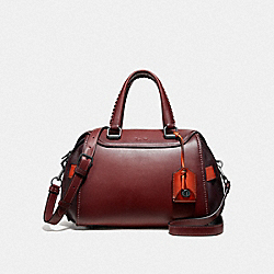 ACE SATCHEL IN COLORBLOCK - F55034 - BORDEAUX/BLACK COPPER