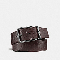 WIDE HARNESS CUT-TO-SIZE REVERSIBLE BELT IN SIGNATURE LEATHER - F55168 - MAHOGANY/MAHOGANY