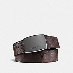 CLASSIC PLAQUE CUT-TO-SIZE REVERSIBLE BELT IN SIGNATURE LEATHER - F55179 - MAHOGANY/MAHOGANY