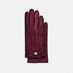 COACH TURNLOCK BOW LEATHER GLOVE - BURGUNDY - F55189