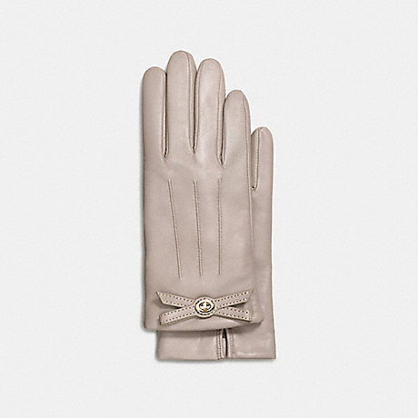 COACH f55189 TURNLOCK BOW LEATHER GLOVE GREY BIRCH