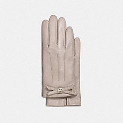 TURNLOCK BOW LEATHER GLOVE - f55189 - GREY BIRCH
