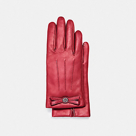 COACH F55189 TURNLOCK BOW LEATHER GLOVE TRUE-RED