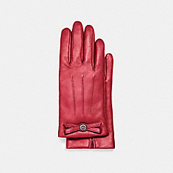 COACH TURNLOCK BOW LEATHER GLOVE - TRUE RED - F55189