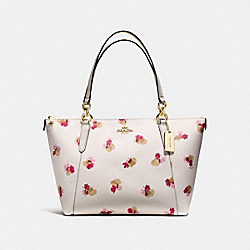 AVA TOTE IN FIELD FLORA PRINT COATED CANVAS - f55192 - IMITATION GOLD/CHALK MULTI