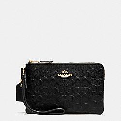 COACH F55206 Corner Zip Wristlet In Signature Debossed Patent Leather IMITATION GOLD/BLACK