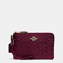 COACH F55206 Corner Zip Wristlet In Signature Debossed Patent Leather IMITATION GOLD/OXBLOOD 1