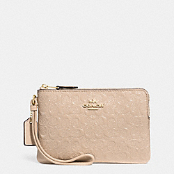 COACH F55206 Corner Zip Wristlet In Signature Debossed Patent Leather IMITATION GOLD/PLATINUM