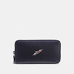ACCORDION WALLET WITH ROCKET SHIP - F55302 - NAVY
