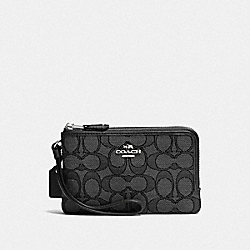 COACH F55361 Double Corner Zip Wristlet In Signature Jacquard SV/BLACK SMOKE/BLACK