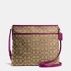 COACH F55363 File Bag In Outline Signature IMITATION GOLD/KHAKI/FUCHSIA