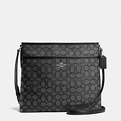 COACH F55363 File Bag In Outline Signature SILVER/BLACK SMOKE/BLACK