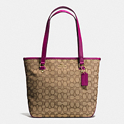 COACH F55364 Zip Top Tote In Outline Signature IMITATION GOLD/KHAKI/FUCHSIA