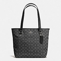 COACH F55364 - ZIP TOP TOTE IN OUTLINE SIGNATURE SILVER/BLACK SMOKE/BLACK