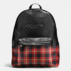 COACH F55394 Charles Backpack In Print Coated Canvas BLACK/RED PLAID BLACK
