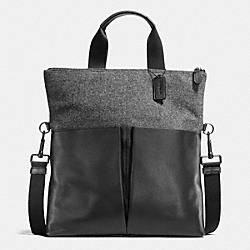 COACH F55408 Charles Foldover Tote In Wool GRAY