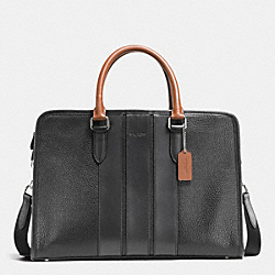 COACH F55409 - BOND BRIEF IN PEBBLE LEATHER BLACK/DARK SADDLE