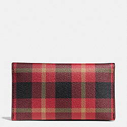 COACH F55432 Universal Phone Case In Plaid Coated Canvas BLACK/RED PLAID BLACK