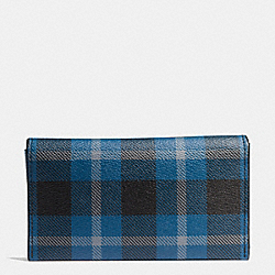 COACH UNIVERSAL PHONE CASE IN PLAID COATED CANVAS - BLACK/DENIM PLAID - F55432