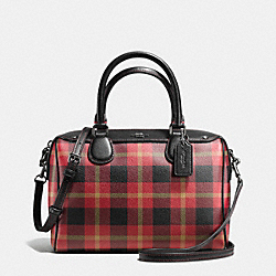 COACH F55446 Mini Bennett Satchel In Riley Plaid Coated Canvas QB/TRUE RED MULTI