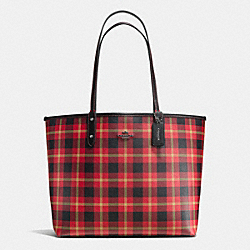 COACH F55447 Reversible City Tote In Riley Plaid Coated Canvas QB/TRUE RED MULTI