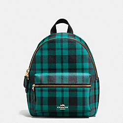 COACH F55448 Mini Charlie Backpack In Riley Plaid Coated Canvas IMITATION GOLD/ATLANTIC MULTI