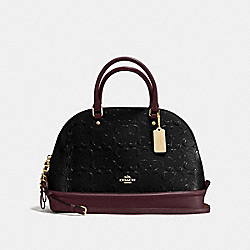 SIERRA SATCHEL IN SIGNATURE DEBOSSED PATENT LEATHER - f55449 - IMITATION GOLD/BLACK OXBLOOD