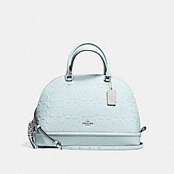 SIERRA SATCHEL IN SIGNATURE DEBOSSED PATENT LEATHER - f55449 - SILVER/AQUA