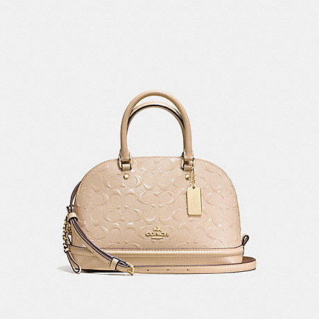 COACH F55450 MINI SIERRA SATCHEL IN SIGNATURE DEBOSSED PATENT LEATHER IMITATION-GOLD/PLATINUM