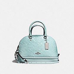 MINI SIERRA SATCHEL IN SIGNATURE DEBOSSED PATENT LEATHER - f55450 - SILVER/AQUA