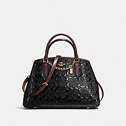 SMALL MARGOT CARRYALL IN SIGNATURE DEBOSSED PATENT LEATHER - f55451 - IMITATION GOLD/BLACK OXBLOOD