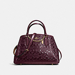 COACH F55451 Small Margot Carryall In Signature Debossed Patent Leather IMITATION GOLD/OXBLOOD 1