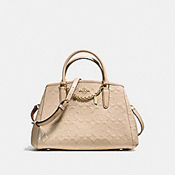 COACH F55451 Small Margot Carryall In Signature Debossed Patent Leather IMITATION GOLD/PLATINUM