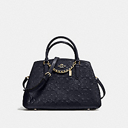 COACH F55451 Small Margot Carryall In Signature Debossed Patent Leather IMITATION GOLD/MIDNIGHT