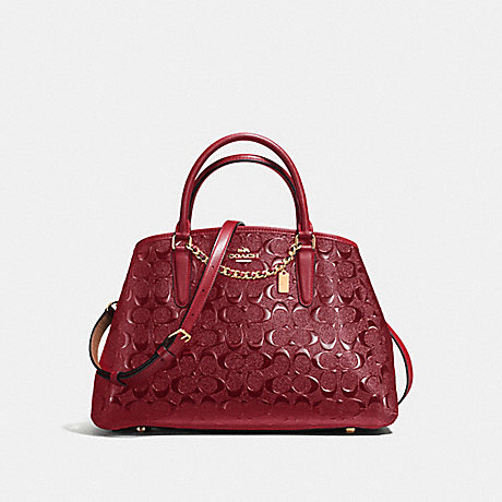 COACH f55451 SMALL MARGOT CARRYALL LIGHT GOLD/DARK RED