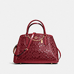 SMALL MARGOT CARRYALL - f55451 - LIGHT GOLD/DARK RED