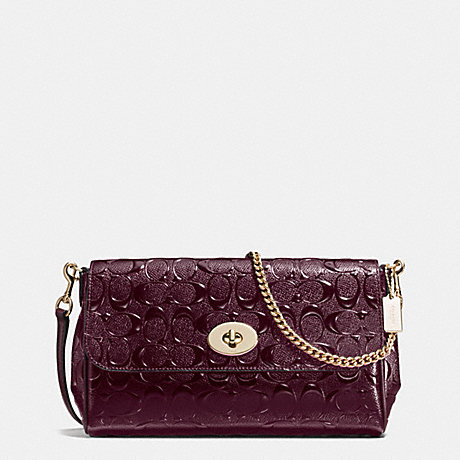 COACH f55452 RUBY CROSSBODY IN SIGNATURE DEBOSSED PATENT LEATHER IMITATION GOLD/OXBLOOD 1