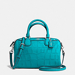 BABY BENNETT SATCHEL IN CROC EMBOSSED LEATHER - f55455 - SILVER/TURQUOISE