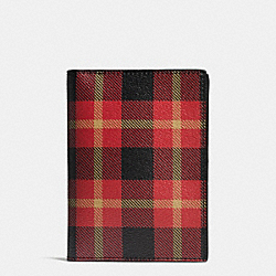 COACH F55471 Passport Case In Printed Coated Canvas BLACK/RED PLAID BLACK