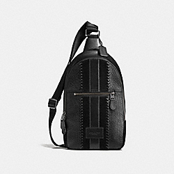 COACH F55493 - RIP AND REPAIR CAMPUS PACK WITH VARSITY STRIPE BLACK/BLACK ANTIQUE NICKEL