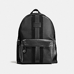 RIP AND REPAIR CAMPUS BACKPACK WITH VARSITY STRIPE - F55494 - BLACK/BLACK ANTIQUE NICKEL