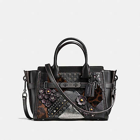 COACH f55503 COACH SWAGGER 27 WITH EMBELLISHED CANYON QUILT BLACK MULTI/DARK GUNMETAL