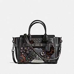 COACH SWAGGER 27 WITH EMBELLISHED CANYON QUILT - f55503 - BLACK MULTI/DARK GUNMETAL
