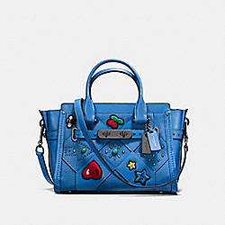 COACH F55503 Coach Swagger 27 With Embellished Canyon Quilt LAPIS/DARK GUNMETAL