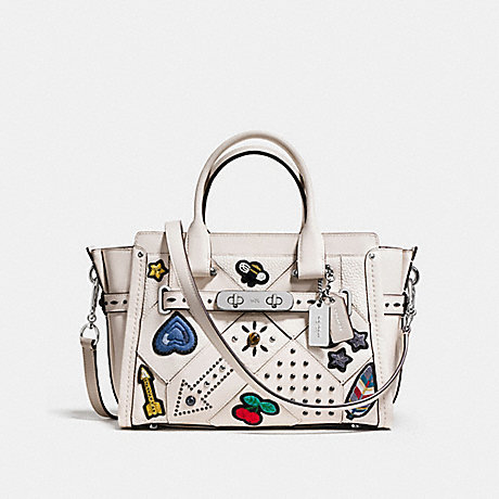 COACH f55503 COACH SWAGGER 27 WITH EMBELLISHED CANYON QUILT SILVER/CHALK