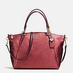 SMALL KELSEY SATCHEL IN METALLIC LEATHER WITH EXOTIC TRIM - f55514 - IMITATION GOLD/METALLIC CHERRY
