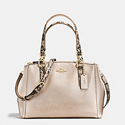 MINI CHRISTIE CARRYALL IN METALLIC LEATHER WITH EXOTIC TRIM - f55515 - IMITATION GOLD/PLATINUM