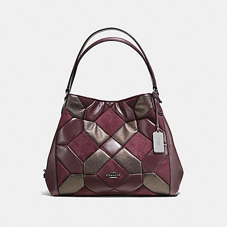 COACH f55526 EDIE SHOULDER BAG 31 WITH CANYON QUILT oxblood/bronze/dark gunmetal